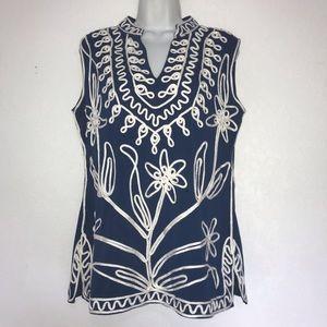 Lauren Michelle Sleeveless Knit Soutache Tunic Top